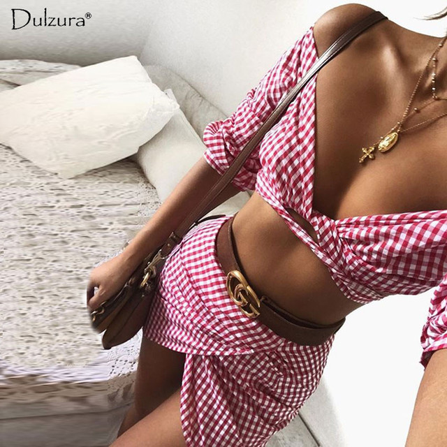Dluzura plaid check off the shoulder top high waist mini skirts 2018 summer female sexy lace up crop shirts women two pieces set