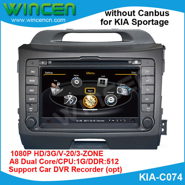 Car DVD for  KIA Sportage Without Canbus with 1G CPU 1080P 3G Host HD S100 screen audio video player Free shipping
