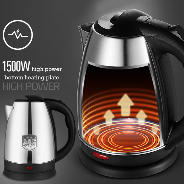 2L Electric Kettle Electric Boiling Pot Stainless Steel Office Kitchen Water Kettle Boiler Keep Warm Travel Water Home Heating