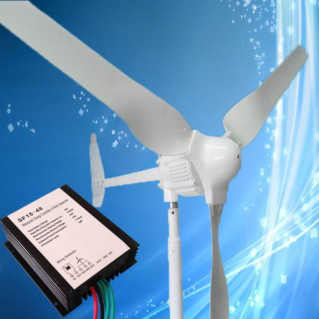 1000W Wind Power Generator with 3/5PCS Blades 1KW 48V Wind Turbine Together with Wind Charge Controller, 2.5M/S Start Wind Speed