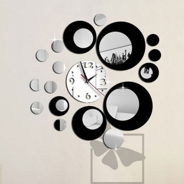 Mirror Sticker Clock Home Decor Removable Wall Clock Sticker Black Round Decor 3D Room Home