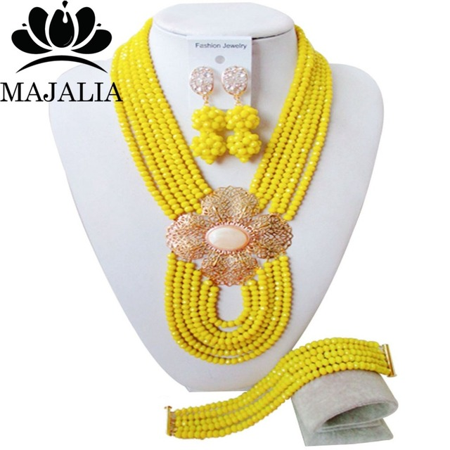 Fashion african jewelry set yellow Crystal Nigeria Wedding african beads jewelry set Free shipping Majalia-225