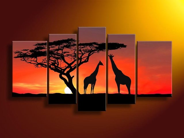 hand-painted  stretcher  African sunrise treebeauty home decoration  Landscape Framed oil painting canvas 5pcs/set