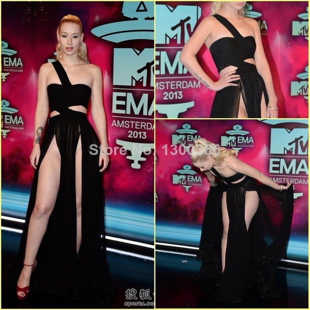 Iggy Azalea Red Carpet One Shoulder Sexy Cut Out Chiffon Black Party Dresses silhouette cut Evening prom gown