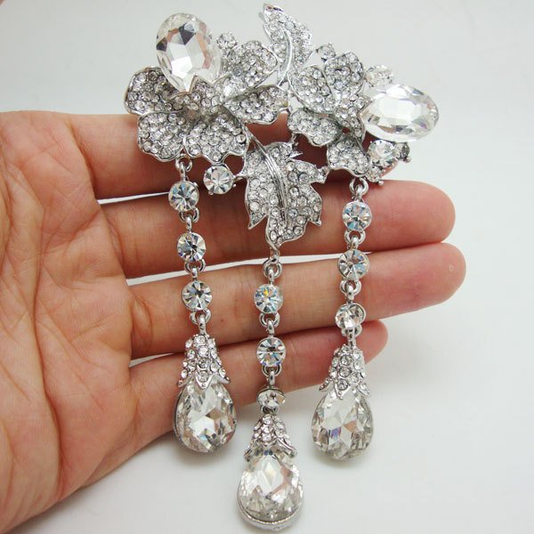 Bride Romantic Rose Flower Drop Clear Rhinestone Crystal Bride Brooch Pin