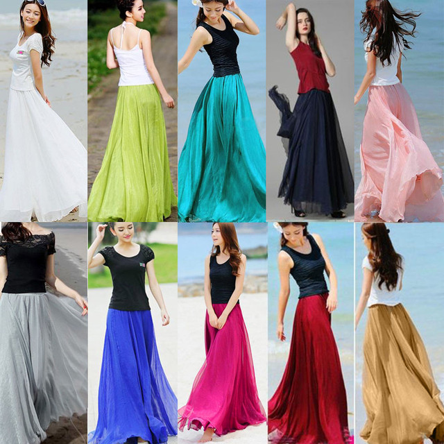 Women Elastic Waist Chiffon Long Maxi Beach skirt #1