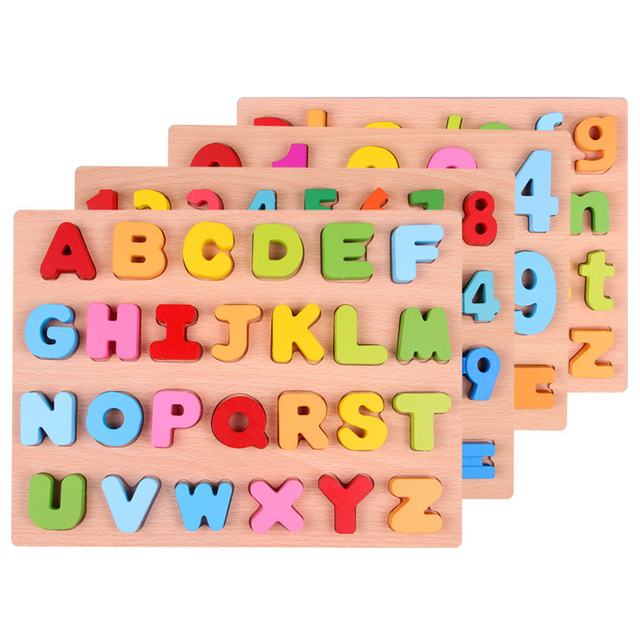 newborn baby toys Wooden Letter Alphabet  and digit learning education toy child puzzle jigsaw Pre - school education