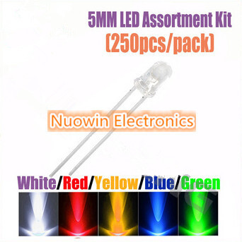 250pcs 5MM LED Assortment Kit Ultra Bright Water Clear Green Yellow Blue White Red Light Emitting Diode