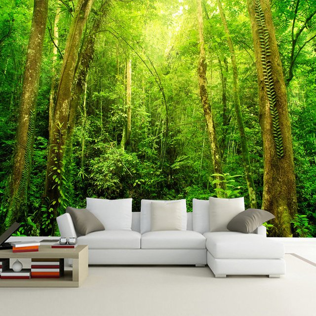 Custom Any Size 3D Wall Mural Wallpaper Sunshine Forest Tree Landscape Wall Decorations Living Room Bedroom Home Decor Wallpaper