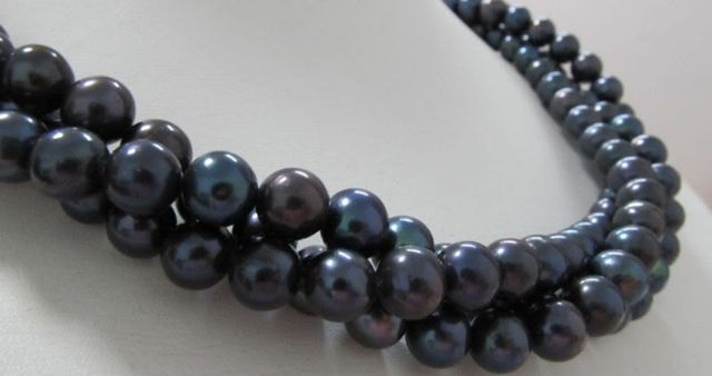 free shipping Hot 50 INCH 9-10MM AAA TAHITIAN BLACK PEARL NECKLACE  CLASP a()
