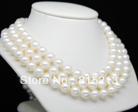Free Shipping Surprise Festival Preferential 9-10MM AAA White Round Pearl Necklace