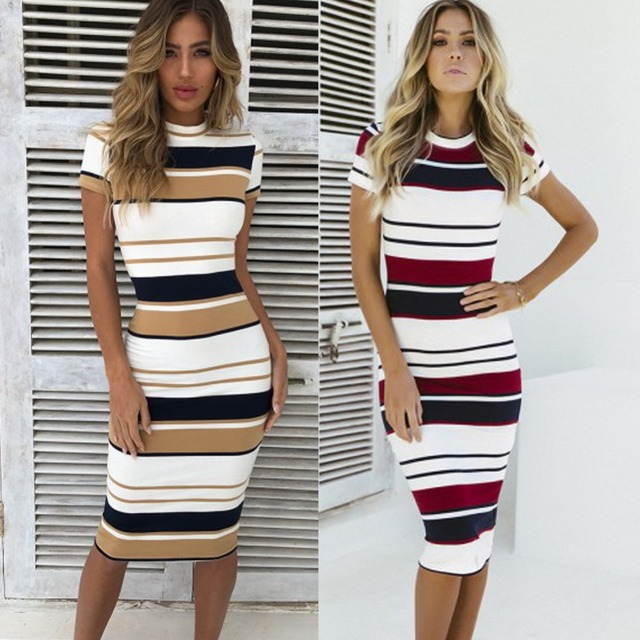 Women Casual Striped Bandage Bodycon Party Short Sleeve knee Length pencil Dress Striped Short Sleeve Casual Fashion Patchwork