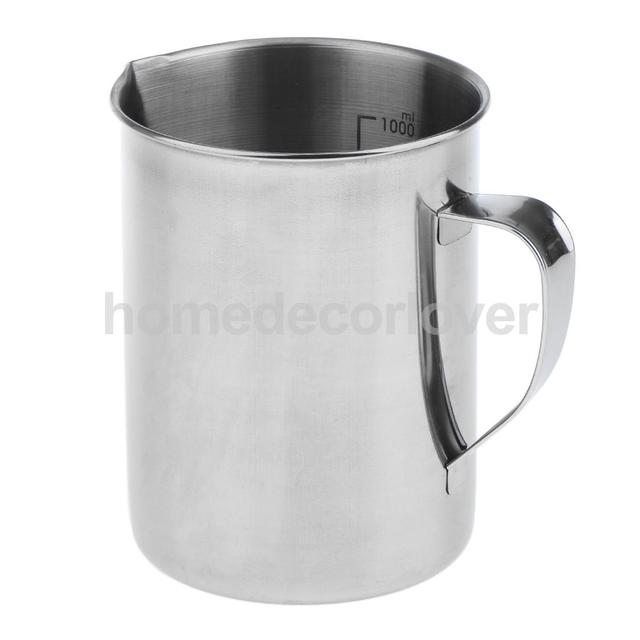 Stainless Steel Measuring Cup Frothing Pitcher with Marking with Handle for Milk Froth Latte Art 17.6/35oz, 0.5/1 Liter