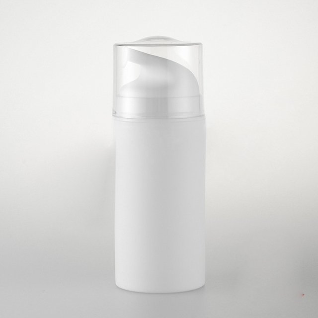 100ML whole white plastic airless bottle, white/transparent pump for lotion/emulsion/serum/essence/foundation skin care packing