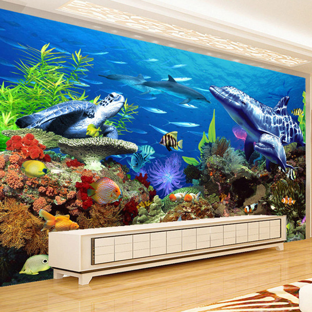 Custom Wall Mural Paper 3D Stereo Underwater World Ocean Shark Dolphin Wall Painting Living Room Children Room Decor Wallpaper