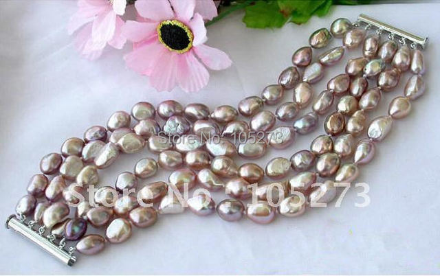 6ROWS AA 10MM-14MM LAVENDER BAROQUE FRESHWATER CULTURED PEARL BRACELET FASHION PEARL JEWELRY WHOLESALE NEW FREE SHIPPING FN1125