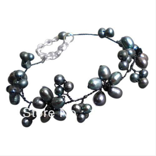 New Free Shipping Pearl Jewellery 4-9mm Black Color Freshwater Pearl Crystal Beads Bracelet 8'' Fashion Flower Jewelry Wholesale