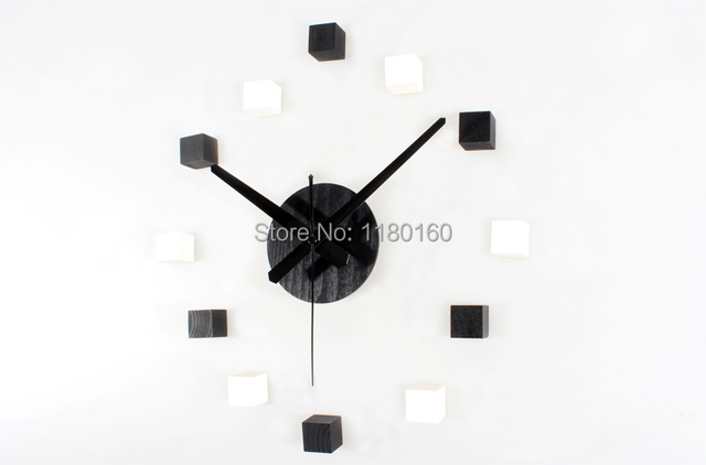 2014 NEW!Creative 3D black & white cube mute DIY wall sticker clock,home decorative watch,wood sticker home decor free shipping