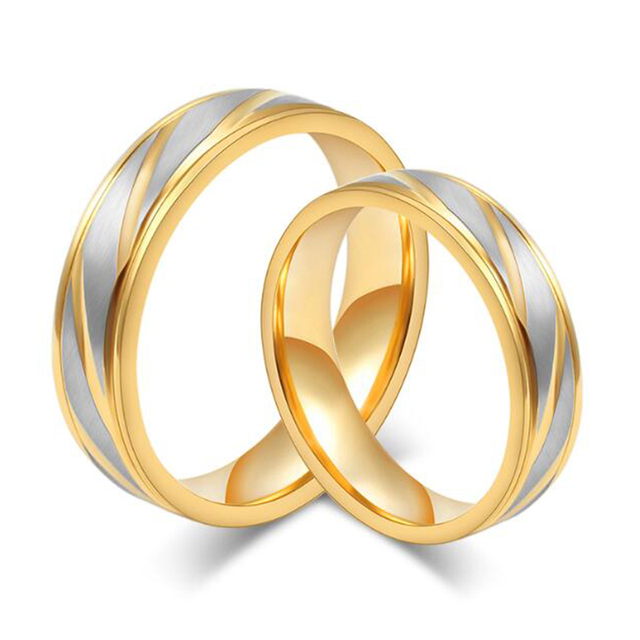 Fashion 20 Pcs Mix Gold Color Anniversary Wedding Rings for Women 6mm Width Ethnic Stainless Steel Rings Mood Rings Jewelry