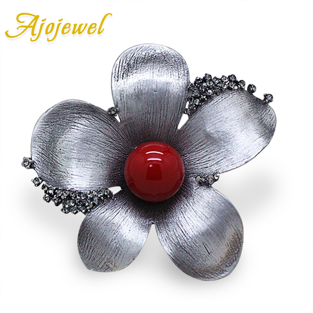 Ajojewel Antique Jewelry Large Flower Vintage Style Brooches Rhinestones Simulated-pearl Women Brooch Pins