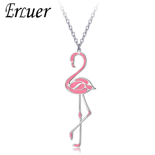 ERLUER Fashion Queen Enamel Flamingos Necklaces & Pendants For Women Girls Top Quality Rose Silver color Chain Trendy Jewelry