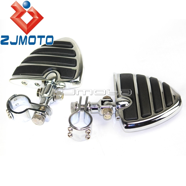 """Motorcycle Chrome Billet Aluminum Footpegs With Clevis and 1 1/8"""" Diameter Clamps For Harley Footrests Foot Rests"""