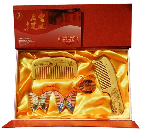 Salable!guaranteed 100% Handcrafted With Chinese Charm Set 5 Boxwood Comb Handwork Totally Wedding Gift-hq Lh 5jt