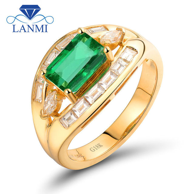 LANMI Natural Diamond 6X8mm Emerald Cut 18k Yellow Gold Emerald Gemstone Women Rings For Engagement Party Ladies Fine Jewelry