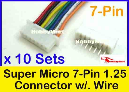 Micro JST 1.25mm Pitch 7-Pin Female Connector with Wire and Male Connector x 10 sets