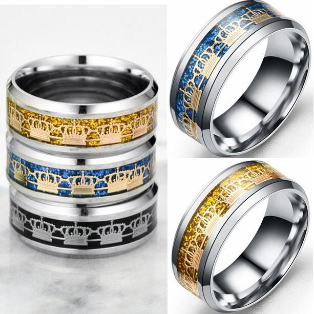 18pcs Top Quality Men Women Crown Titanium steel Rings 8mm Stainless Steel Wedding Rings Christmas Party Gift Wholesale Jewerly