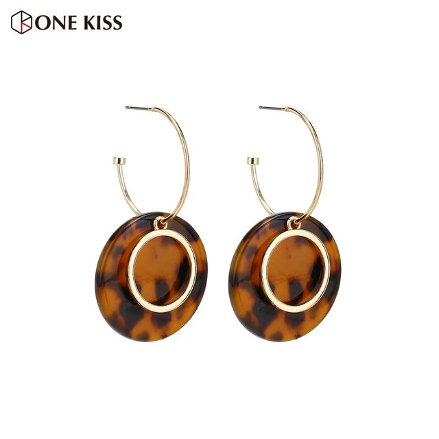 Vintage Geometric Circle Dangle Earring For Women Tortoiseshell Acrylic Resin Round Statement Drop Earring Party Jewelry 2019