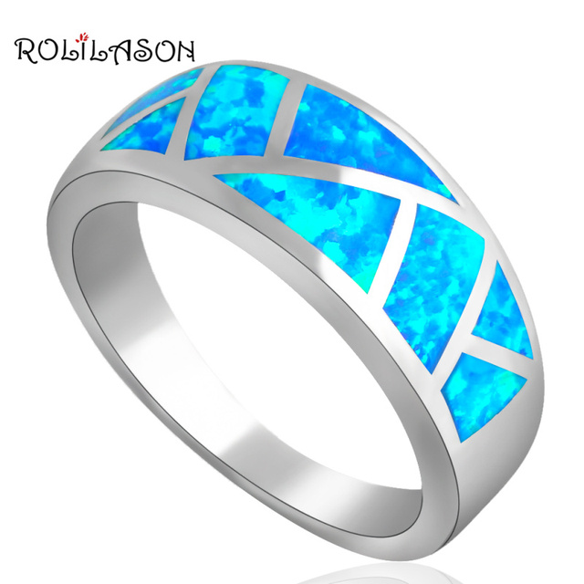 Top sell New Cool style Blue fire Opal silver color Stamped Rings for women fashion jewelry USA size #6 #7 #8 #9 #10 OR530A