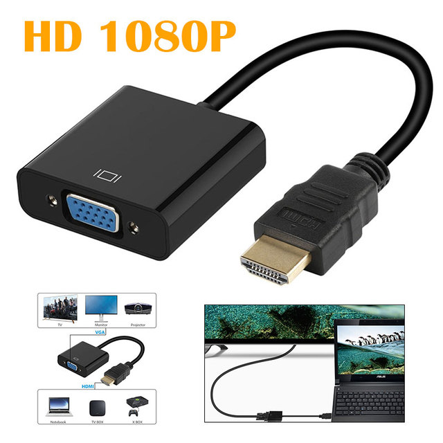 Durable HD  Video Cable DVD Male To Female HDMI To VGA Cable Monitors Premium HD Conversion Cord PC