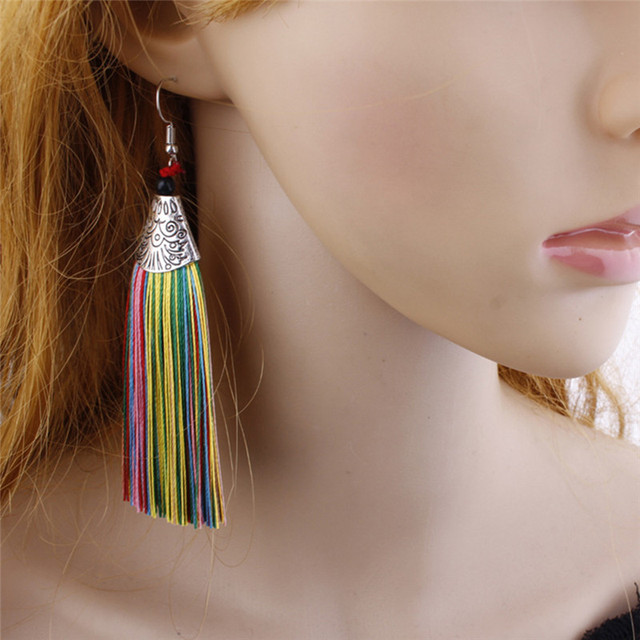 Romad Bohemia exaggerated Long Tassels Earrings For Women Statement Fringe Dangle Earrings Ethnic Jewelry Brincos Pendientes Z3