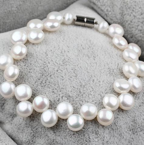 Perfect Pearl Bracelet,Bridal  White Color Freshwater Pearl Bracelet 7-8MM Real Pearl Jewelry,Wedding Bridal Jewelry