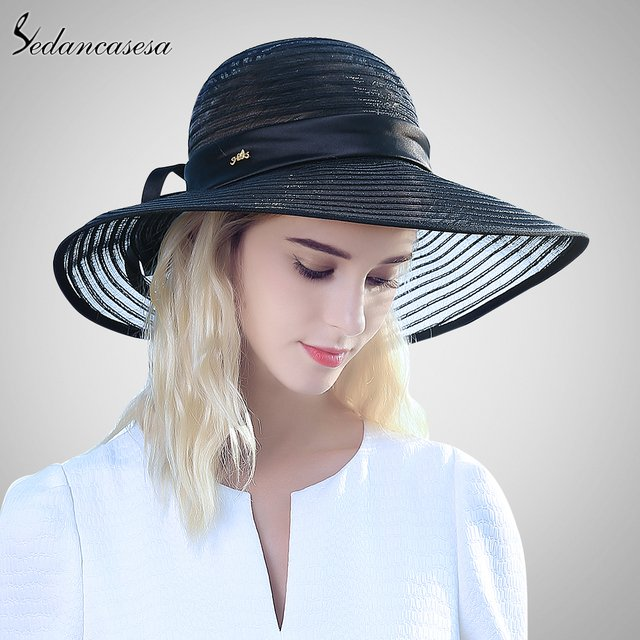 Vintage Womens Floppy Summer Sun Beach Straw Hat UV protection Foldable Wide Brim chapeau big bowknot sun hats for women holiday