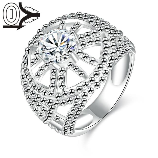 Wholesale Silver-plated Ring,Silver Fashion Jewelry,Women&Men Gift Hollow Round Crystal Stone Silver Finger Rings
