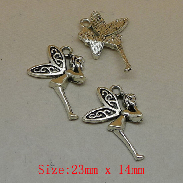 14pcs/lot 23*14mm antique silver plated color zinc alloy charm fairy butterfly charms for DIY bracelet and pendent free shipping