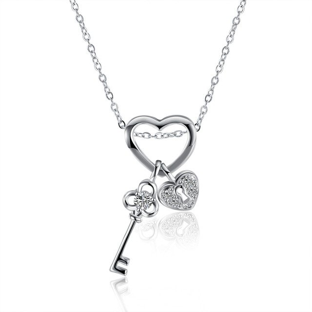 925 sterling silver necklaces fashion heart key lock choker with crystal stone necklaces & pendants for women wedding jewelry