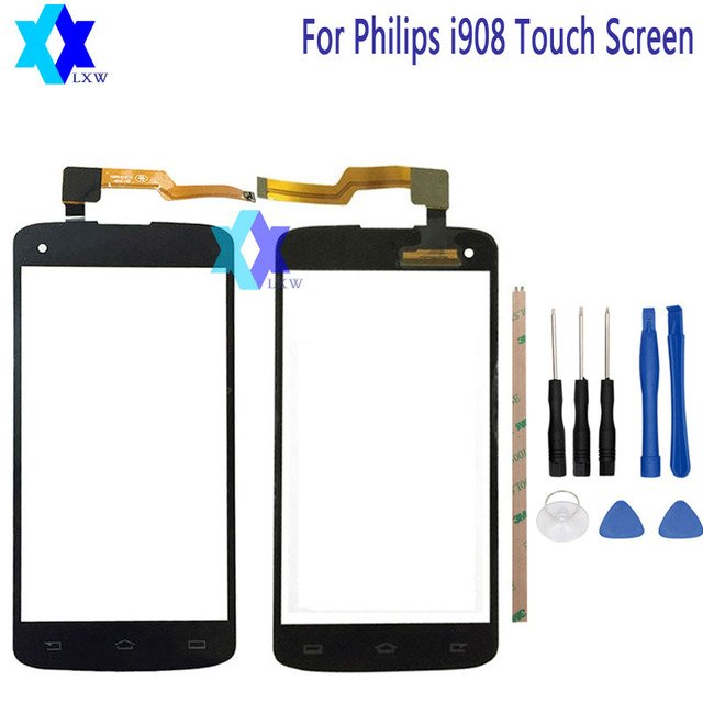 For Philips i908 Touch Screen Original Guarantee Original New Glass Panel Touch Screen 5.0 inch Tools+Adhesive Stock