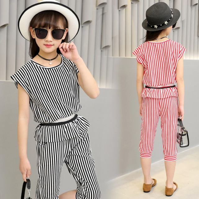 2020 fashion summer children tshirt shorts clothing sets kids girl striped outfits short sleeve black white stripe girl clothing