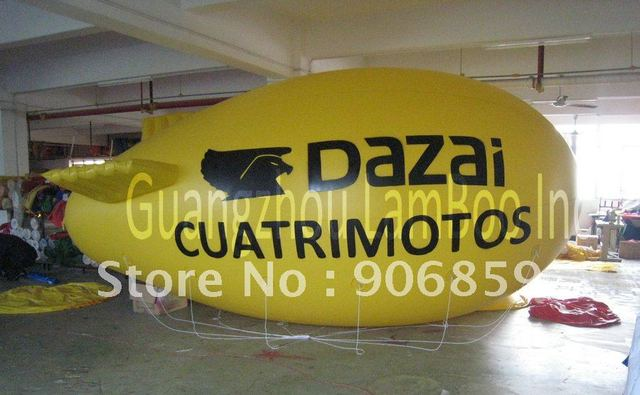 FREE SHIPPING 13ft Long Yellow Inflatable Advertising Airship/Inflatable Blimp/Solid color with Big letters LOGO for Events