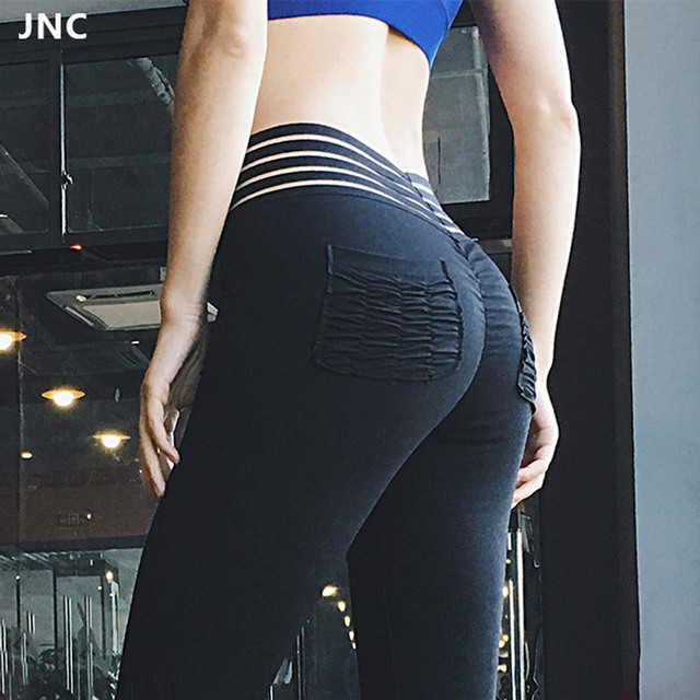 High Wasited Women Skinny Yoga Pants Hip pocket Fitness Leggings Sexy push up Slim Gym Legging Patchwork Bodybuilding Trousers
