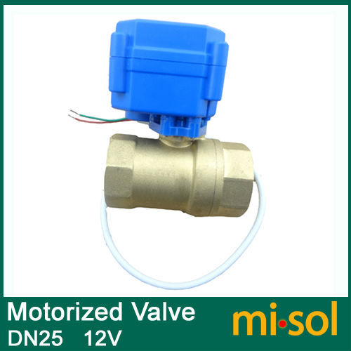 10pcs/lot motorized ball valve DN25 (reduce port), 2 way, 12V electrical valve