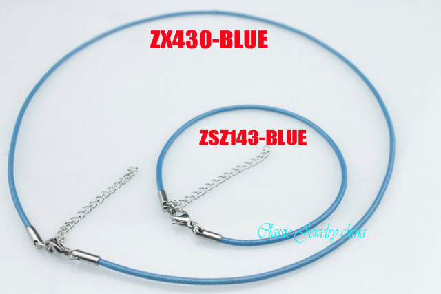 2mm blue color stainless steel bracelet and necklace set jewelry cable hand catenary chain women lady  fashion jewelry 10 sets