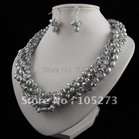 Charming!pearl jewelry set 5rows AA 8-9mm gray color Genuine freshwater pearl & crystal necklace earring free shipping A2462a