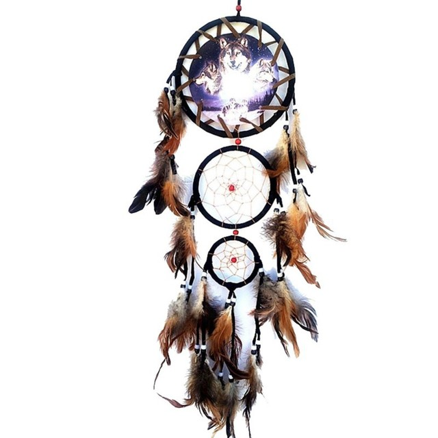Handmade Dream Catcher Creative Wall Decorations Wolf Pattern Indian Dreamcatcher Retro Feathers Ornament Home Decor