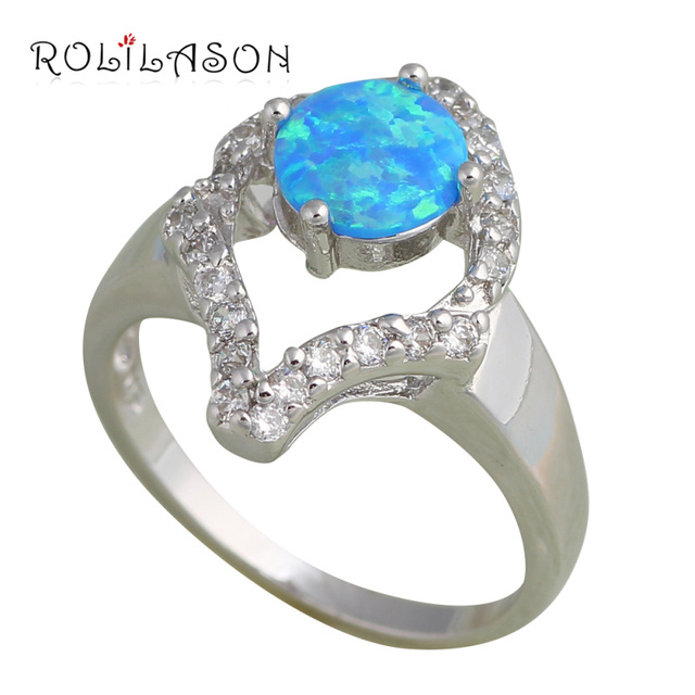 Nobby style design Blue fire Opal Silver Stamped Zirconia Rings fashion jewelry USA size #6.5  #7.5 #6.75 #7.75 OR446
