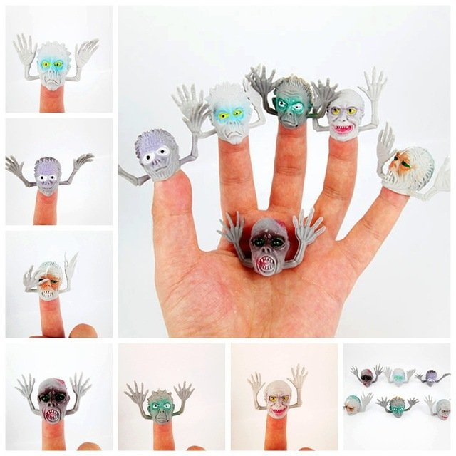 6pcs/Lot Little Monster Finger Puppets PVC Mini  Ghost Head Zombie Telling Story Puppets Hand Toys Party Halloween Gifts