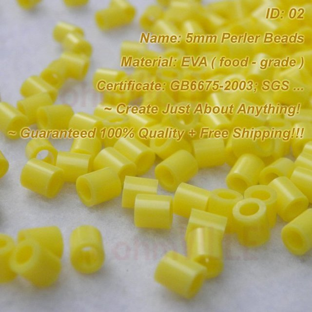 5mm Perler Beads ( Yellow - ID:02 ) Hama Beads, Fused Beads ~ Create Just About Anything~Guaranteed 100% Quality + Free Shipping